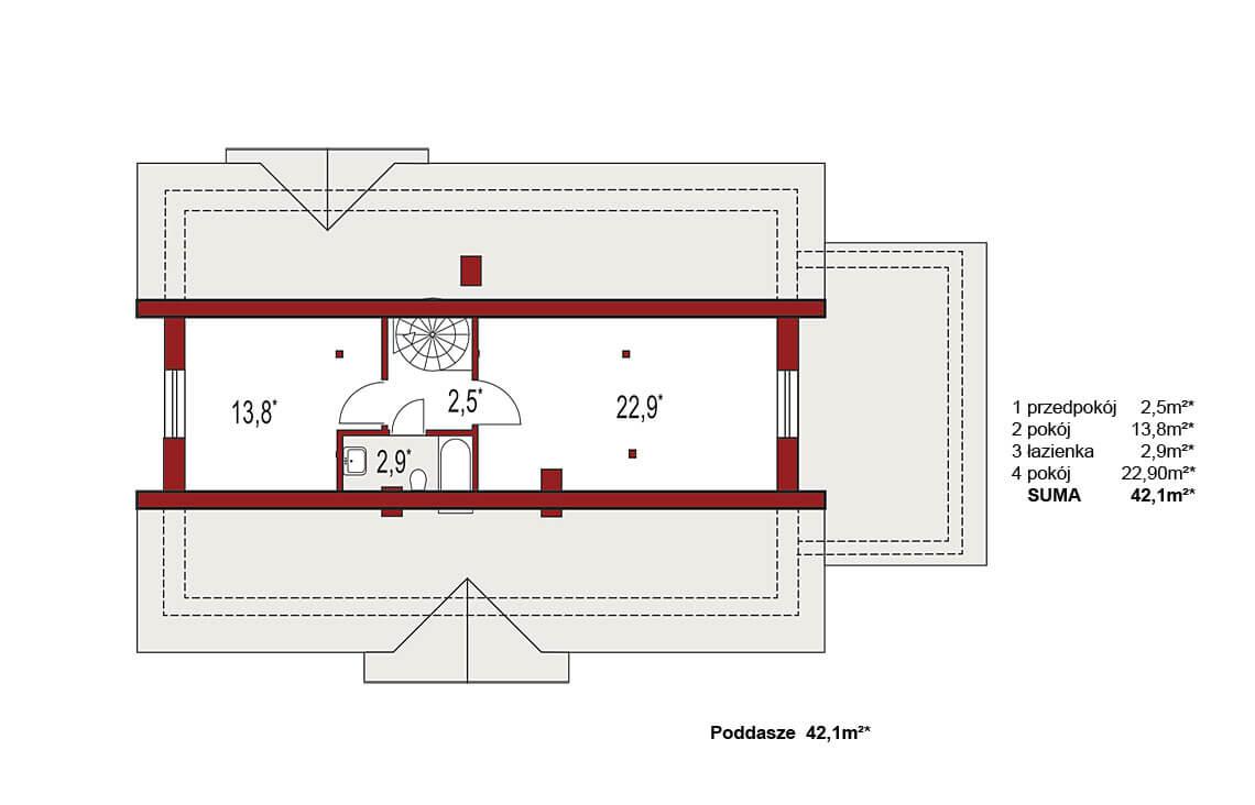 Projekt domu jednorodzinnego Gienia B,D rzut poddasza