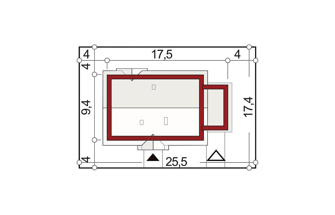 Projekt domu jednorodzinnego Gienia B,D sytuacja