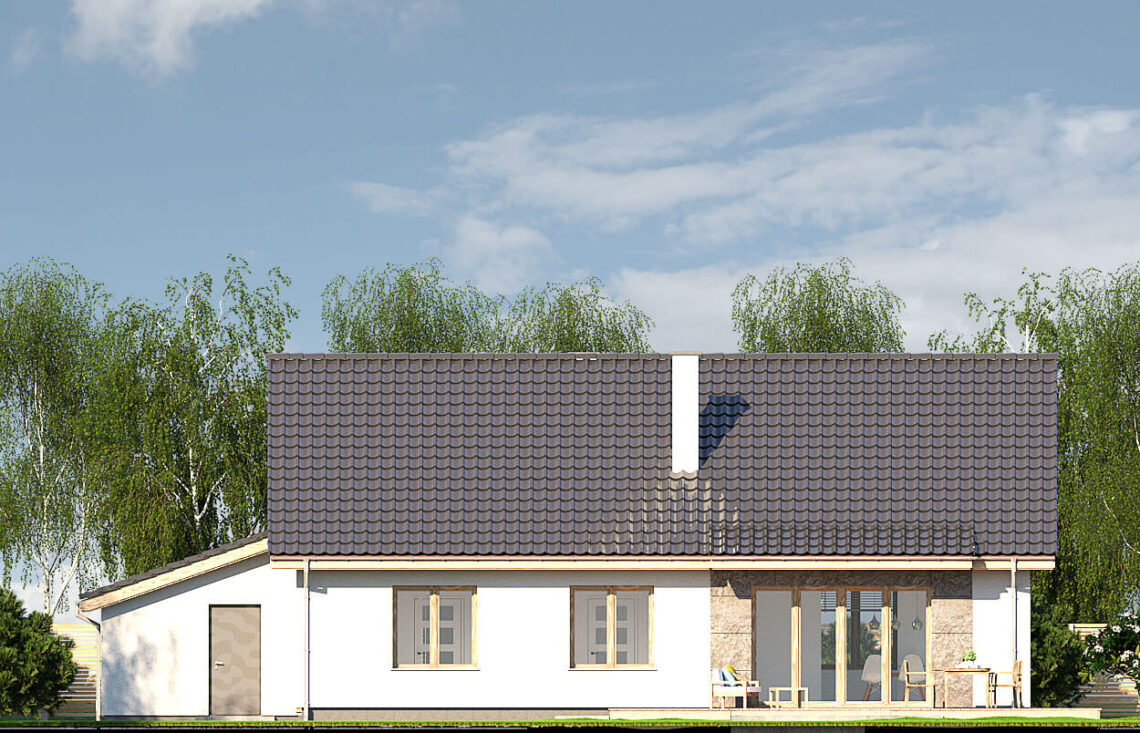 Projekt domu jednorodzinnego Gienia B,D elewacja ogród