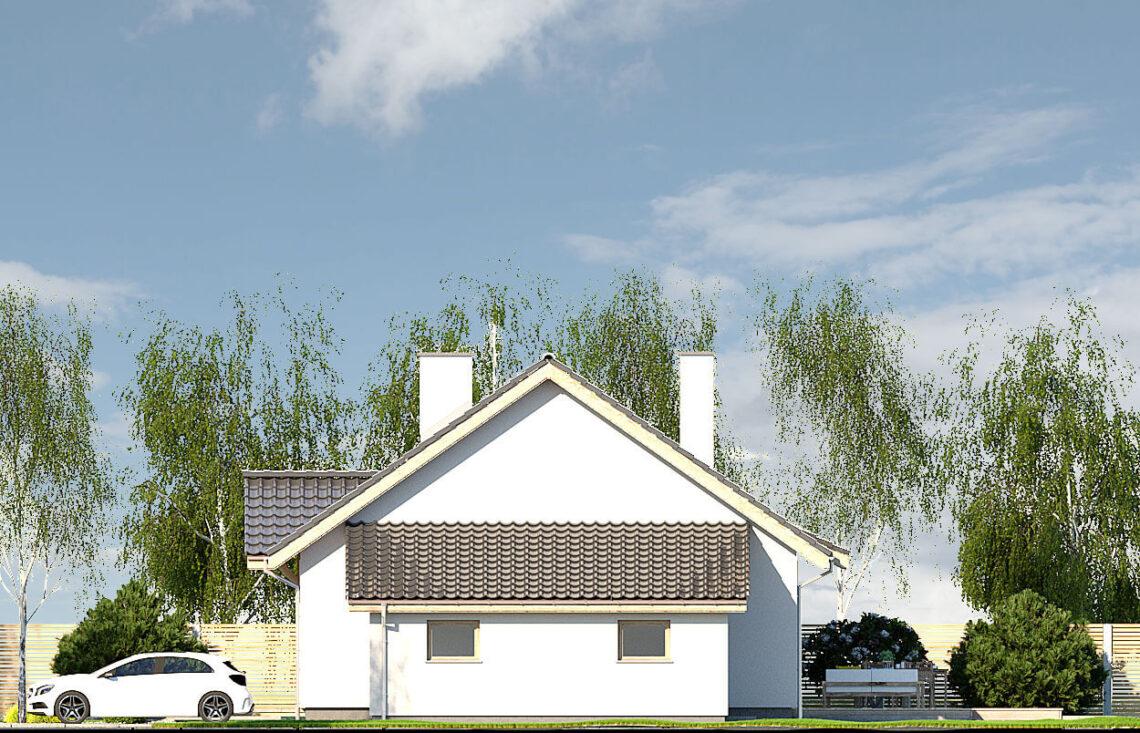 Projekt domu jednorodzinnego Gienia B,D elewacja prawa