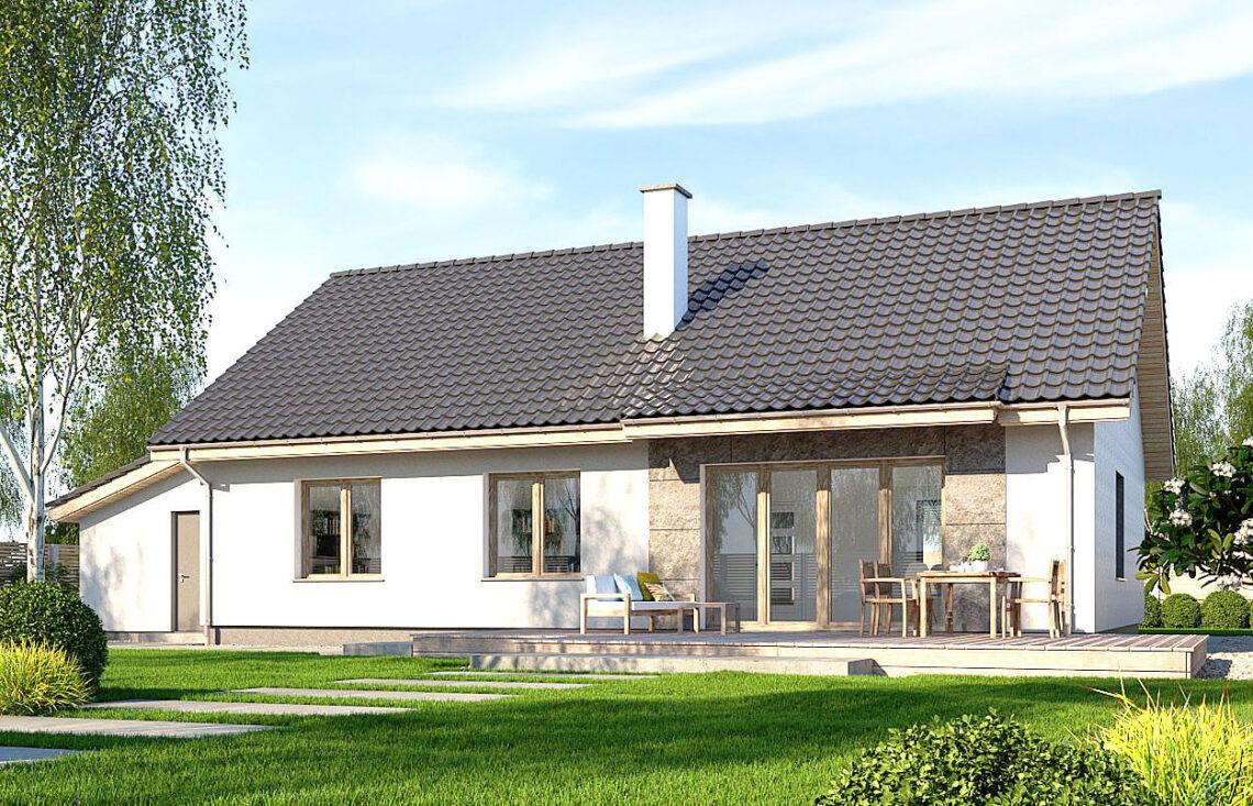 Projekt domu jednorodzinnego Gienia B,D widok ogród