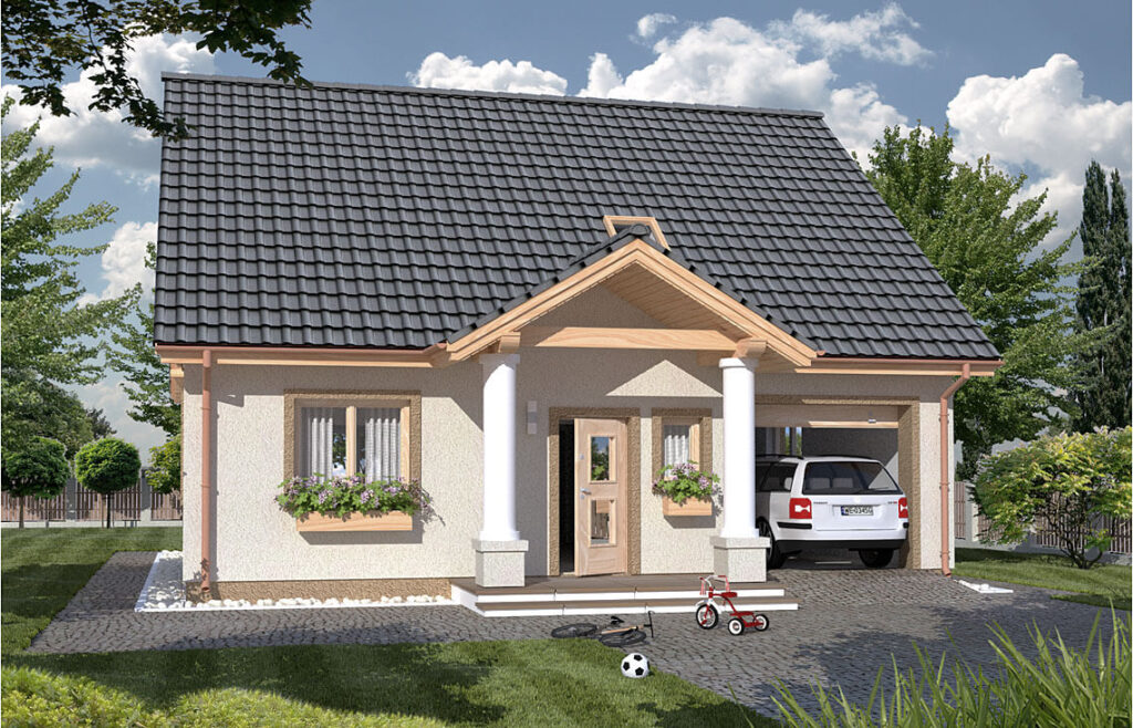 Projekt domu jednorodzinnego Harmonia Dworek Awidok front