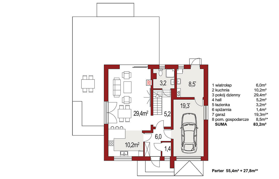 Projekt domu Harmonia Nova A rzut piętro