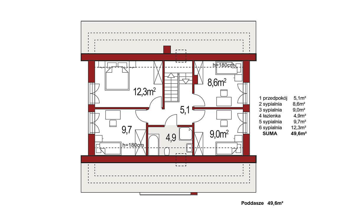 Projekt domu Harmonia Nova A rzut poddasze