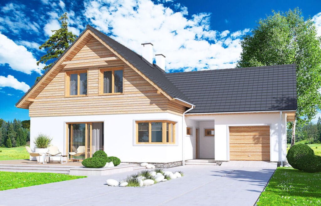 Projekt domu jednorodzinnego Jantar 2A widok front 2