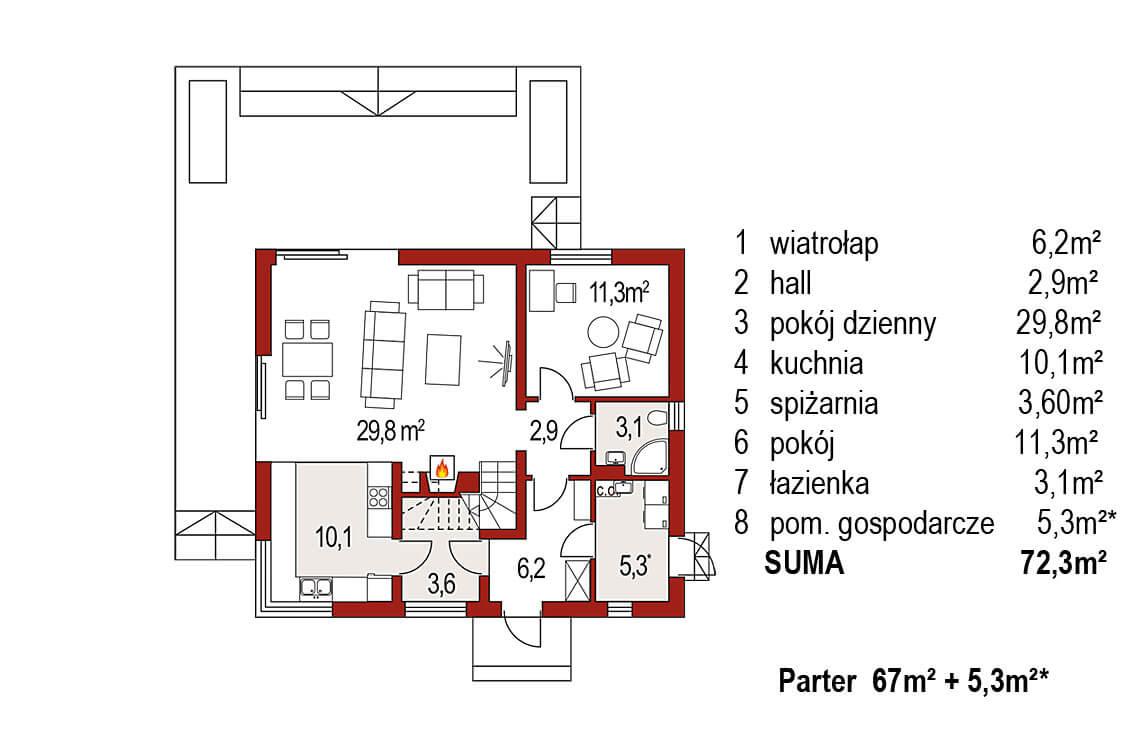 Projekt domu jednorodzinnego Jantar A MDM rzut parteru