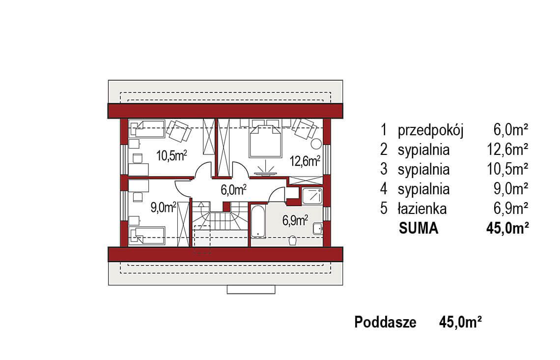 Projekt domu jednorodzinnego Jantar A rzut poddasza