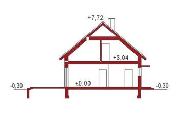 Projekt domu jednorodzinnego Jantar A, A MDM przekrój