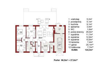 Projekt domu jednorodzinnego Nina 1 Nova D rzut