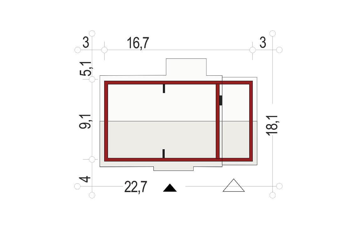 Projekt domu jednorodzinnego Nina 1 Nova D sytuacja