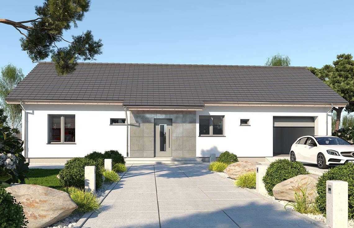 Projekt domu jednorodzinnego Nin 2D widok front
