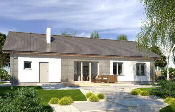 Projekt domu jednorodzinnego Nin 2D widok ogród