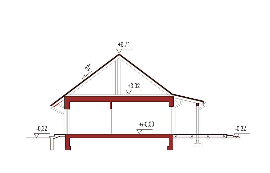 Projekt domu Nina 2 Nova C 37, D 37 przekrój