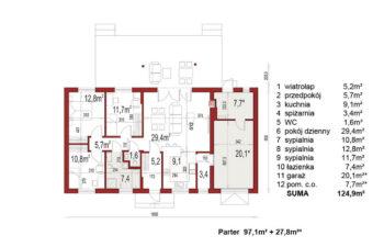 Projekt domu Nina 2 Nova C,D, C37, D37 rzut parteru