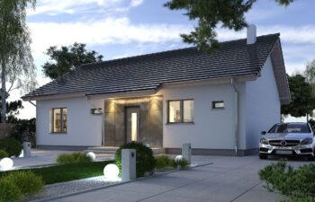 Projekt domu jednorodzinnego parterowego Nina 2A widok front noc