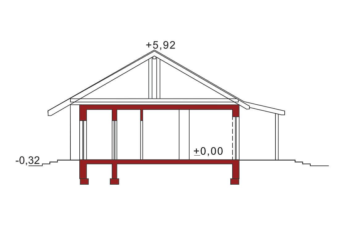 Projekt domu Nina 2A przekrój
