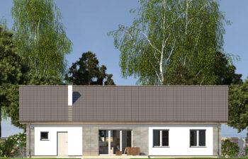 Projekt domu jednorodzinnego Nin 2D elewacja ogród