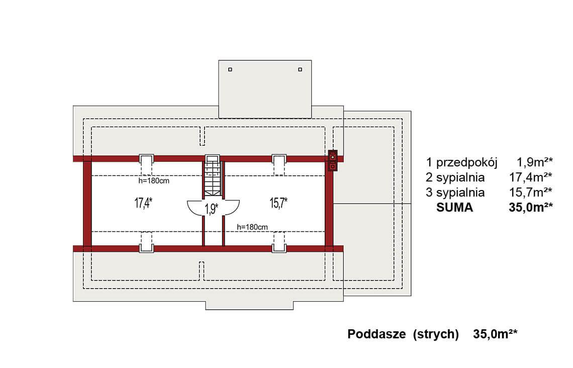 Projekt domu Nina 3 Nova C rzut poddasza