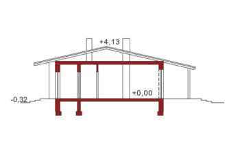 Projekt domu jednorodzinnego Nina A, B przekrój
