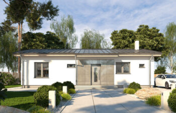 Projekt domu jednorodzinnego parterowego Nina A widok front 1