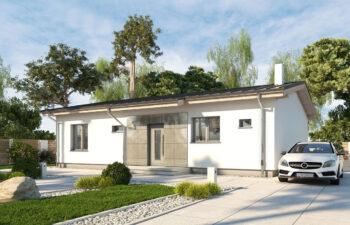 Projekt domu jednorodzinnego parterowego Nina A widok front 2