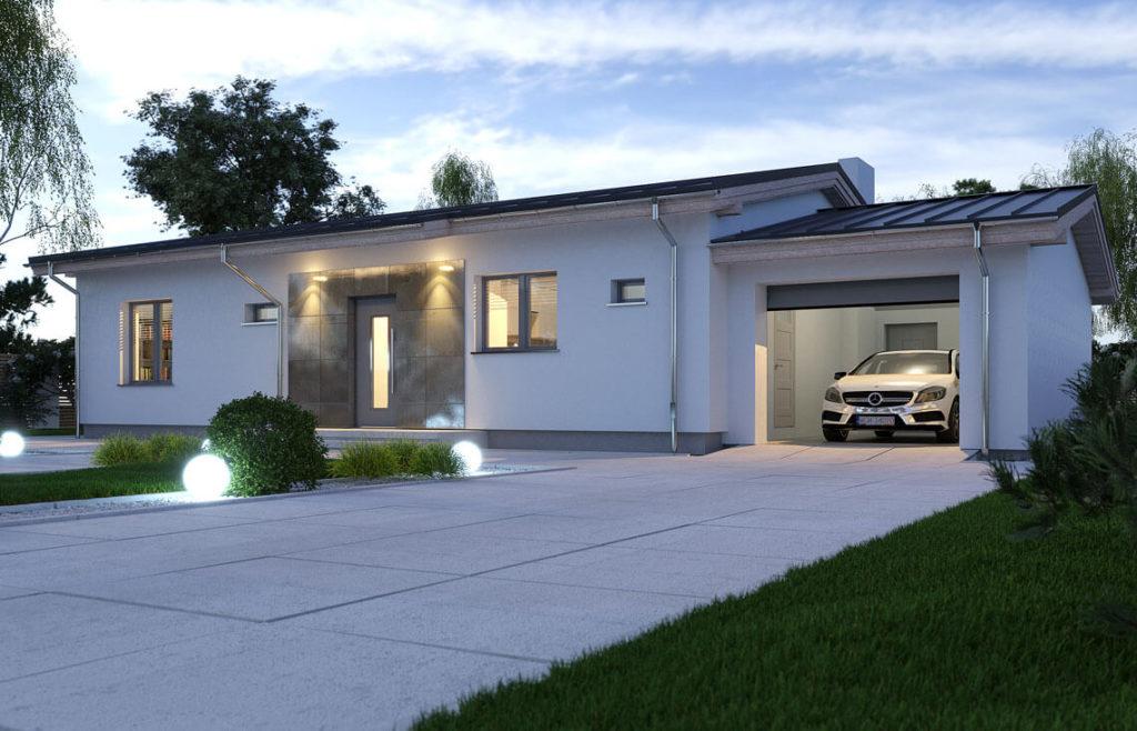 Projekt domu jednorodzinnego Nina B widok front noc