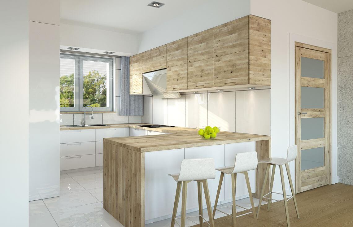 Projekt domu jednorodzinnego Nin 2D kuchnia