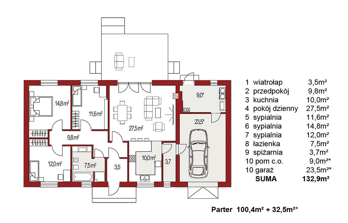 Projekt domu jednorodzinnego Nin 2 C,D PLUS, Nina C,D PLUS rzut parter