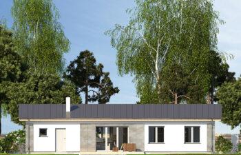 Projekt domu jednorodzinnego Nin D widok elewacja ogród