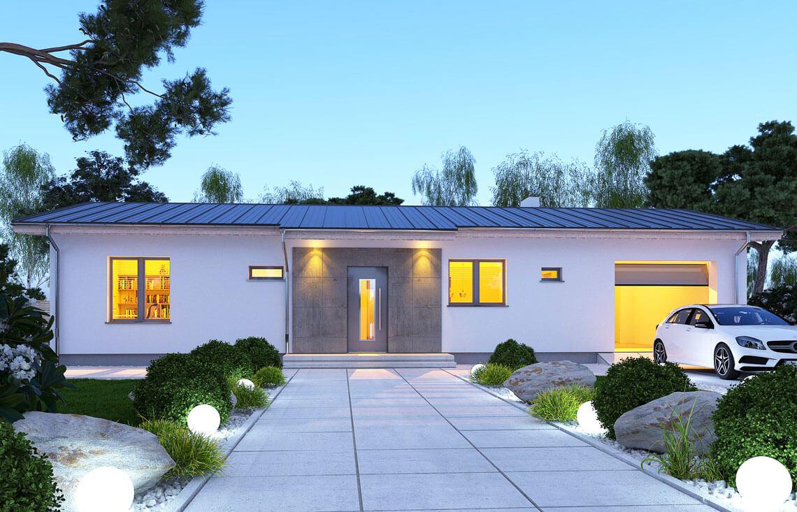 Projekt domu jednorodzinnego Nin D widok front noc