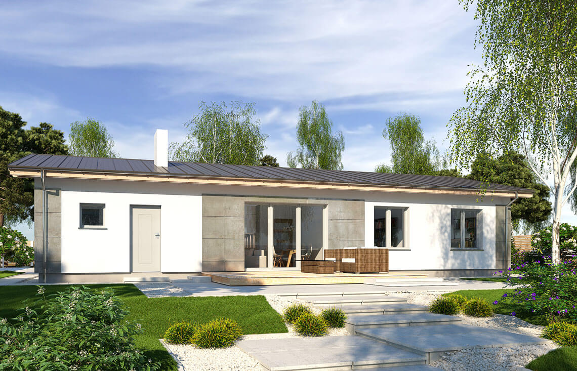 Projekt domu jednorodzinnego Nina D widok ogród