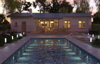 Projekt domu jednorodzinnego Nina 1 Nova D widok ogród noc