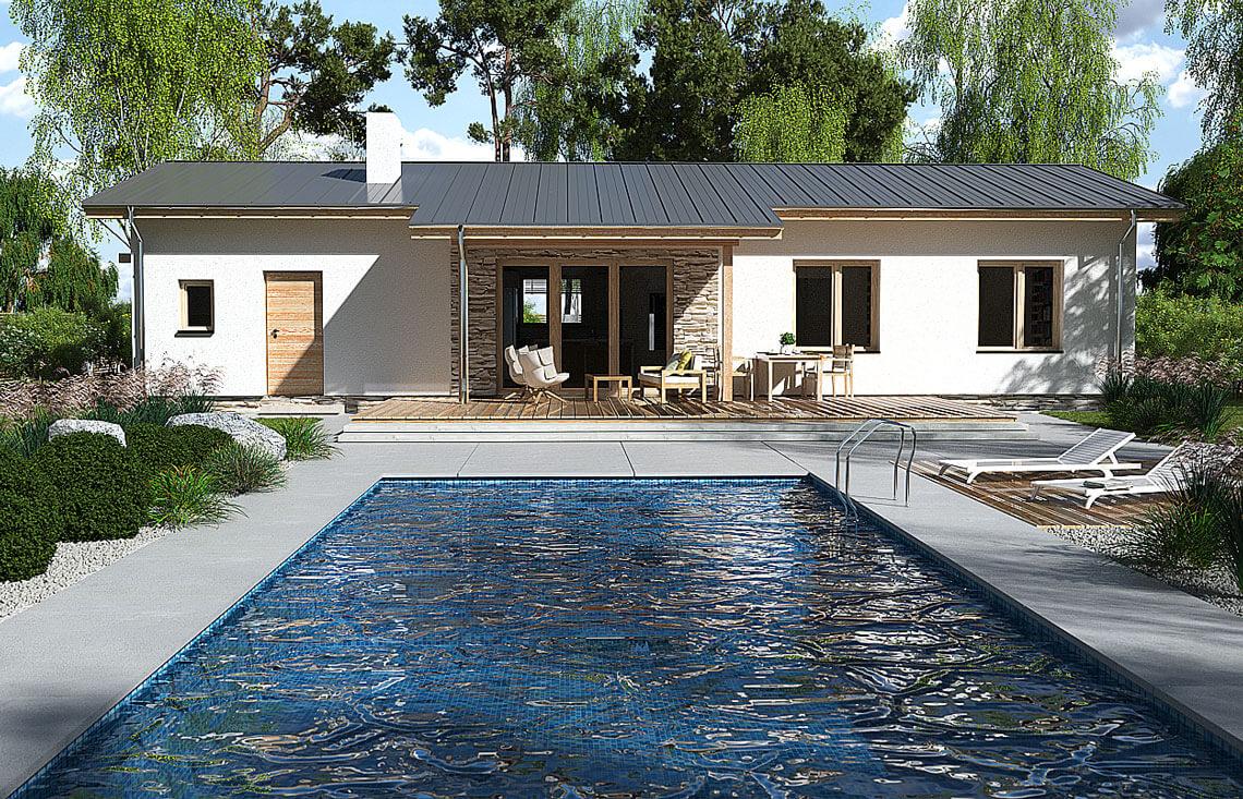Projekt domu jednorodzinnego Nina 1 Nova D widok ogród