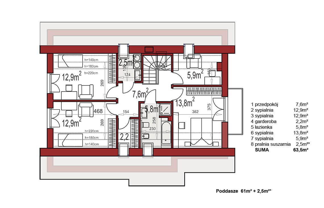 Projekt domu Werbena LUX rzut poddasze