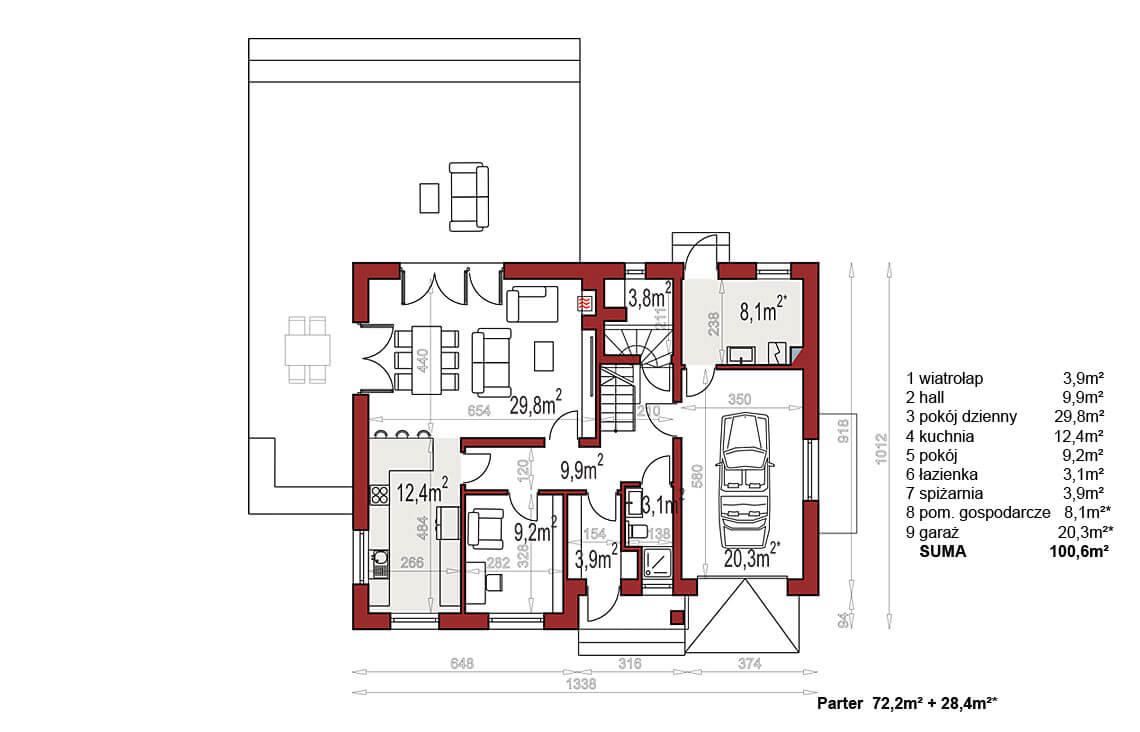 Projekt domu Werbena LUX rzut parteru