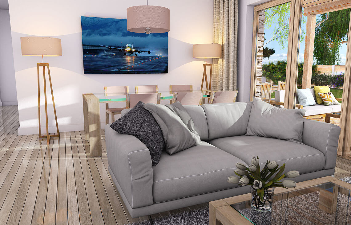 Projekt domu jednorodzinnego Nina 1 Nova D wnętrze salon 1