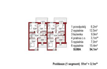 Projekt domu bliźniaczego Andrzej rzut poddasza