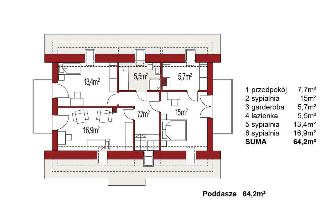 Projekt domu jednorodzinnego Atos A rzut poddasza
