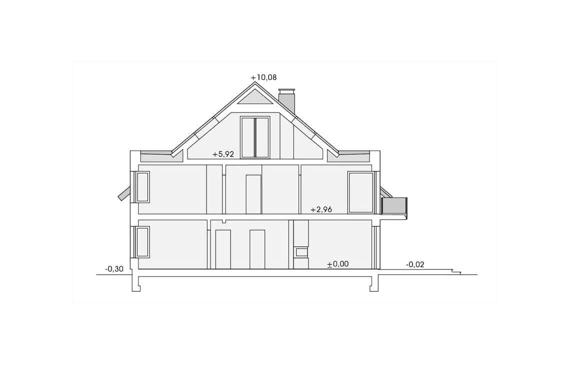Projekt domu szeregowego-bliźniaczego Diana Grande A,B przekrój
