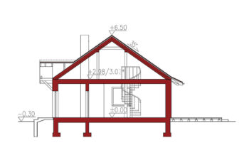 Projekt domu jednorodzinnego Gienia przekrój
