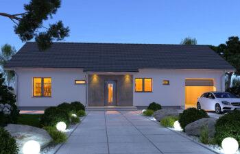 Projekt domu jednorodzinnego Nin 2D widok front noc