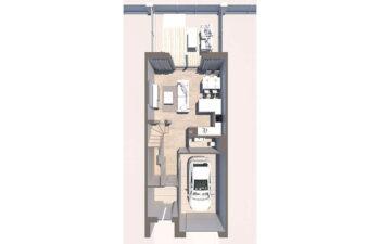 Projekt domu szeregowego-bliźniaczego Diana A widok parter z góry