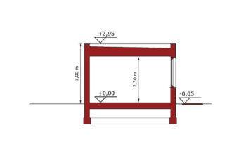 Projekt garażu wolnostojącego APG 10A przekrój