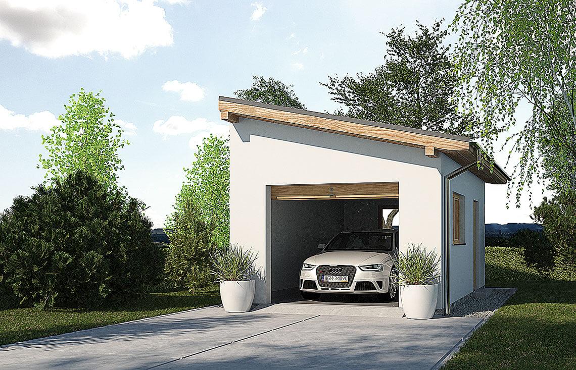 Projekt garażu wolnostojącego APG 1A widok front