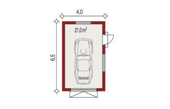 Projekt garażu wolnostojącego APG 3A rzut