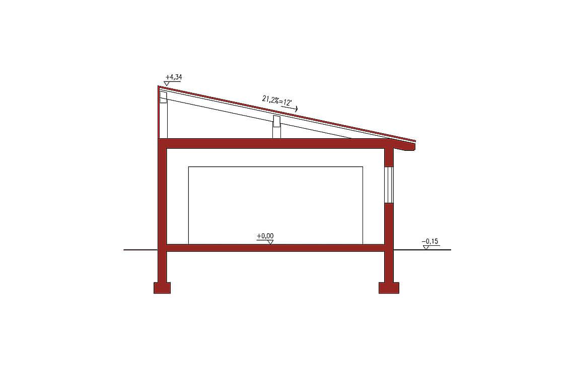 Projekt garażu wolnostojącego APG 2A przekrój