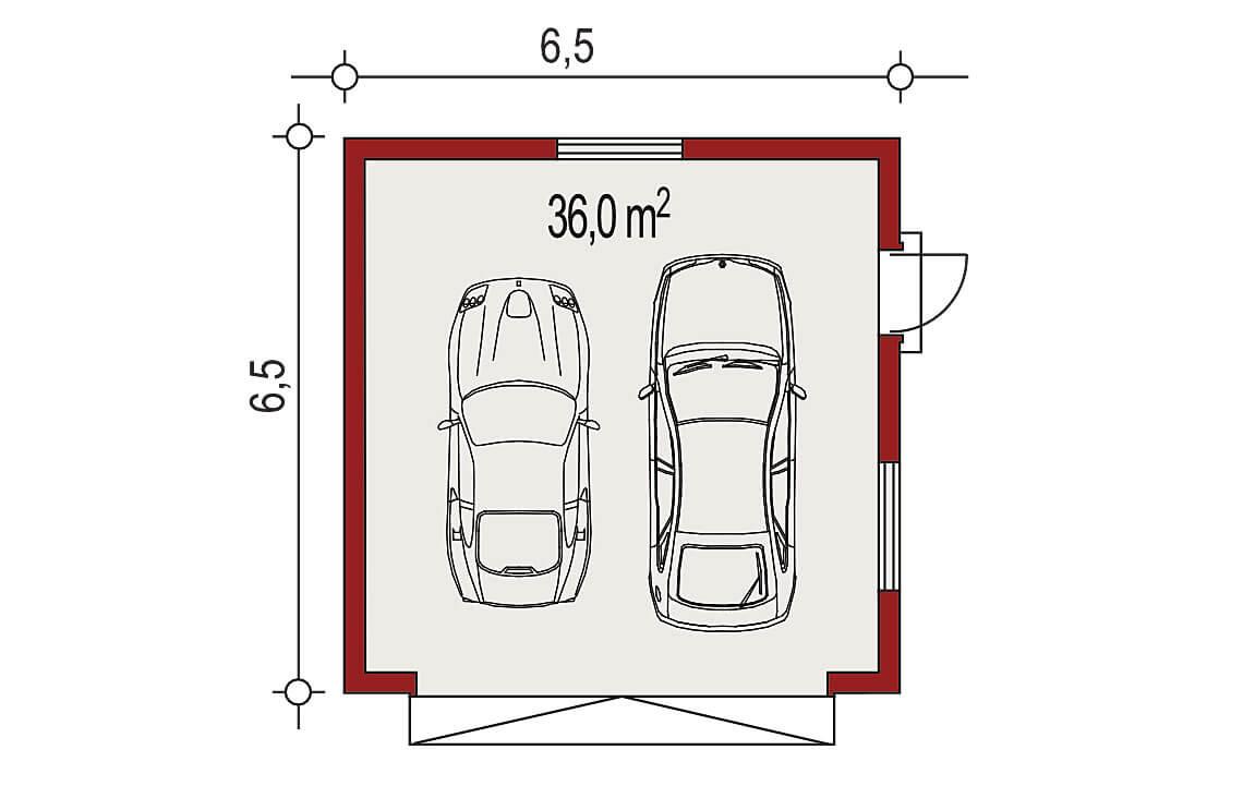 Projekt garażu wolnostojącego APG 2A rzut