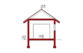 Projekt garażu wolnostojącego APG 3A przekrój