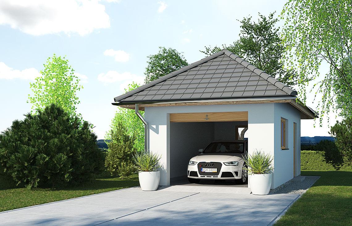 Projekt garażu wolnostojącego APG 3A widok front