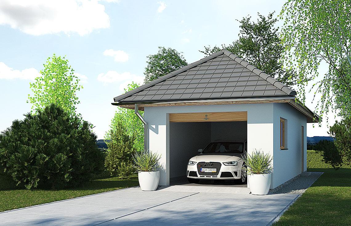 Projekt garażu wolnostojącego APG 3B widok front